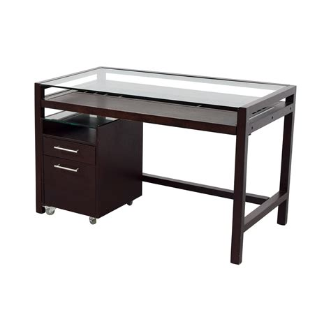brown wood office desk 90 off glass top dark brown wood desk with file cabinet