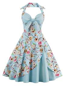 Halter Vintage Floral Print Pin Up A Line Dress Cloudy M