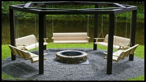 hexagon fire pit swing 22 diy garden swings you can bring to life almost