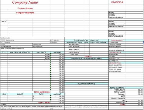 Free Hvac Invoice Template Excel Pdf Word Doc Hvac Invoice Template Invoice Pinterest Word Hvac Template Pdf