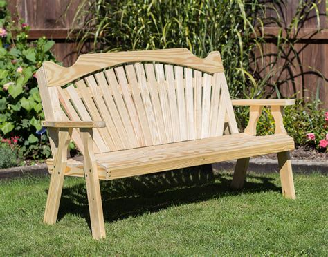 pine garden bench treated pine fanback garden bench