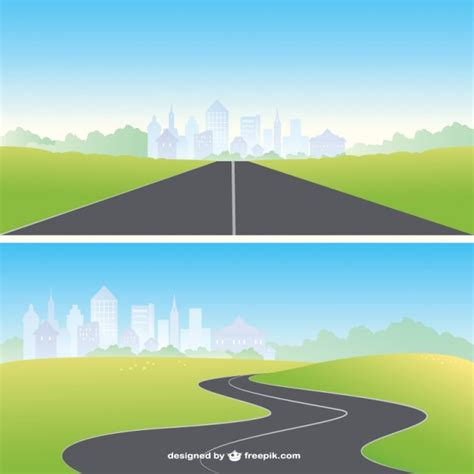 graphic design hill road straight and curved road vector free download