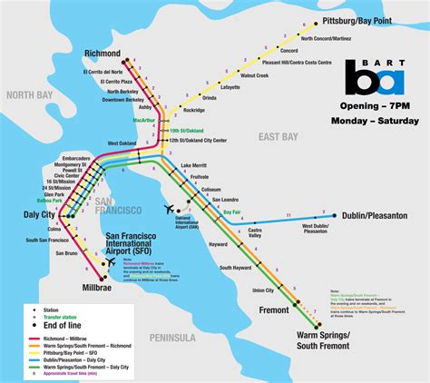 bart map list of bay area rapid transit stations