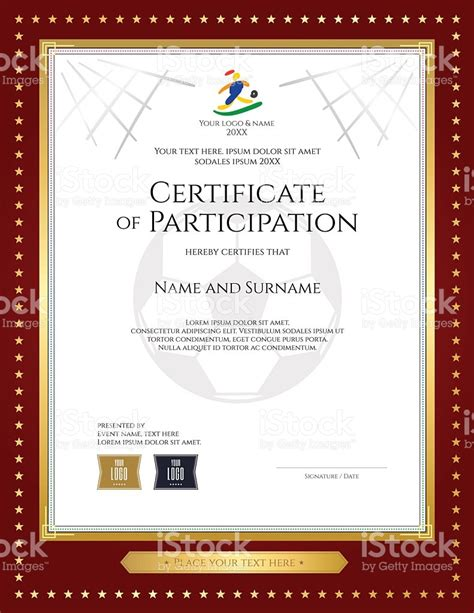 conference certificate of participation template sport theme certificate of participation template for
