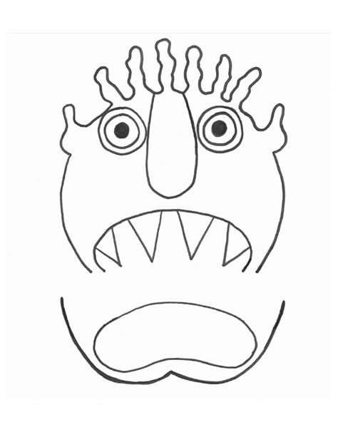 moster templates go away big green coloring page coloring pages