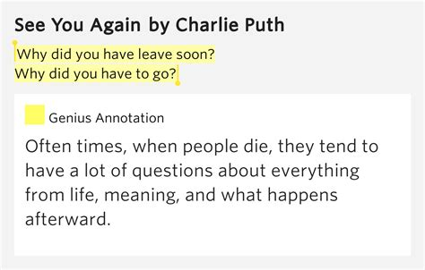 charlie puth how long meaning why d you have to leave soon yeah why d you have to go
