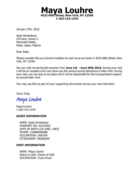Letter For Us Visa Invitation Letter For Us Visa B2 Tourist With Various Sles