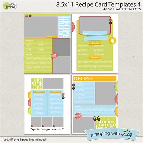 card 8 5x11 templates digital scrapbook templates 8x11 recipe page 3