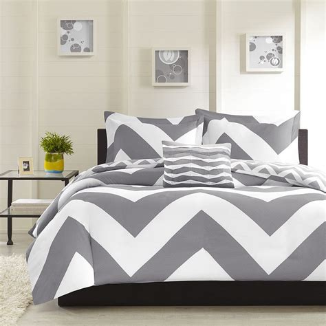 grey chevron bedding modern reversible grey chevron stripe comforter set pillow full queen size ebay
