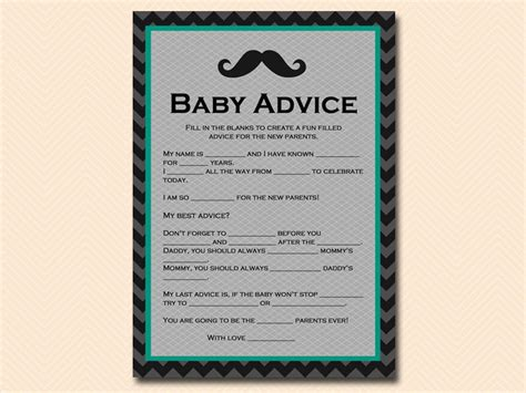 baby advice for baby shower teal mustache baby shower magical printable