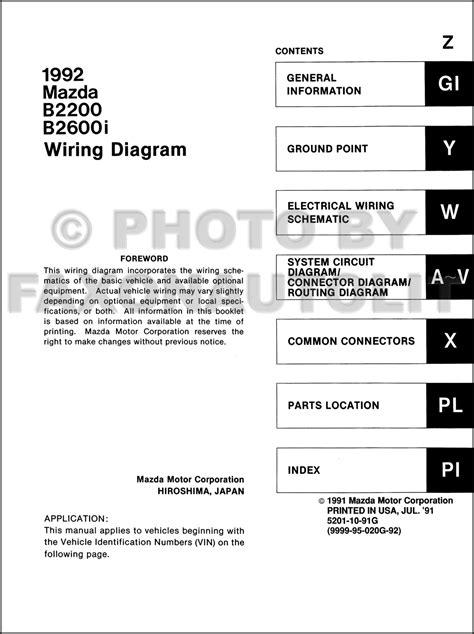 mazda  bi pickup truck wiring diagram manual original