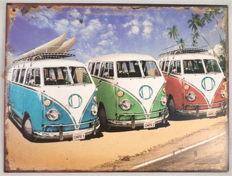 volkswagen beach vw volkswagon bus beach scene vintage inspired decor metal