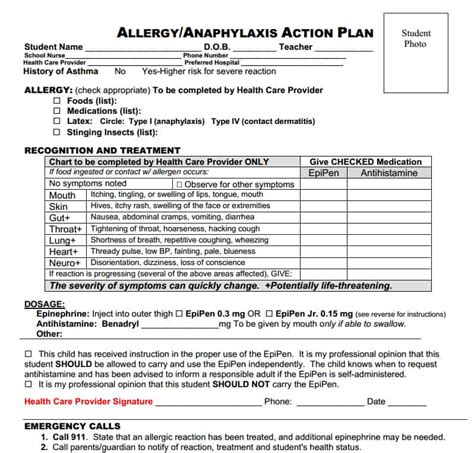 allergy plan template our food allergy story back to school window