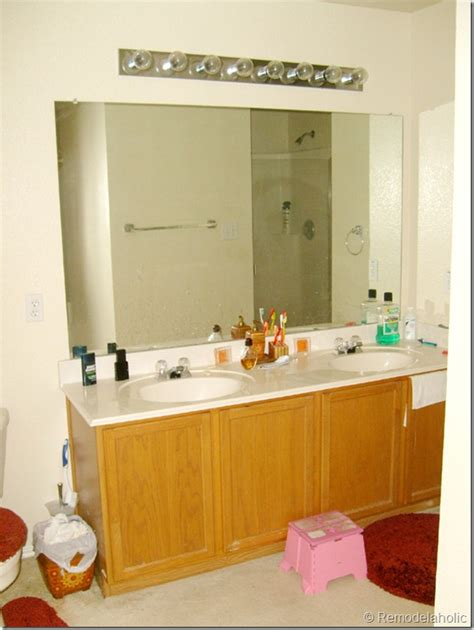 framing large bathroom mirror remodelaholic framing a large bathroom mirror