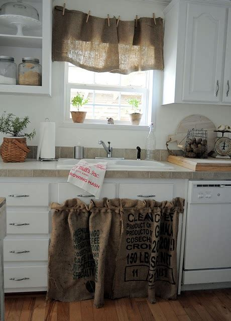 Kitchen Sink Curtain Ideas The Use Of Burlap And Clothes Pins Idea For Sink And Bar Area For Storage