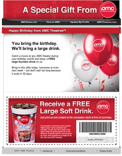 printable amc discount tickets amc theaters free soft drink printable coupon
