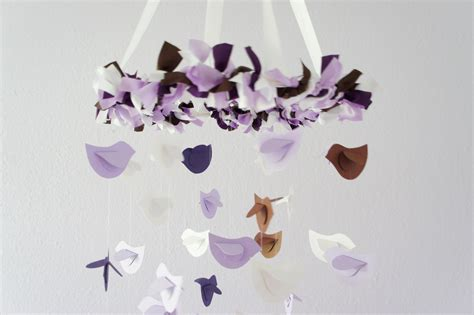 Purple And Brown Baby Shower by Lavender Brown Purple White Bird Mobile Nursery Decor
