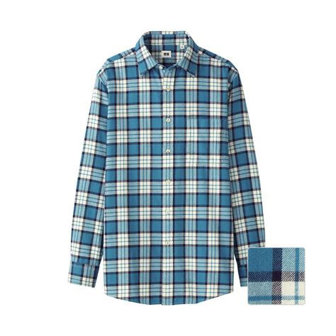 Uniqlo Flannel Shirt uniqlo flannel check sleeve shirt bc in blue for lyst
