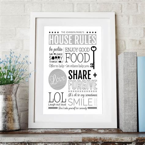 House Family Rules Wall Art