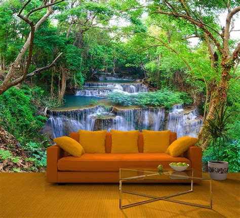 wall wallpaper murals green forest nature waterfall feature wall mural decor photo wallpapers 219