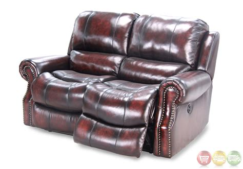 distressed leather reclining sofa parker living midas burnt umber distressed leather