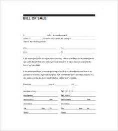Bill Of Sale Automobile Template by Automobile Bill Of Sale 8 Free Sle Exle Format