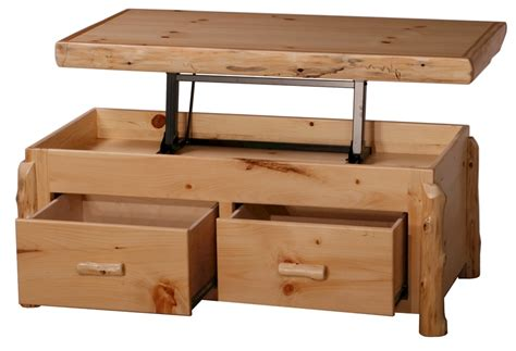 Pine Coffee Tables With Storage Pine Log Coffee Table W Elevated Serving Top Lodge Style Log Furniture The Log Furniture