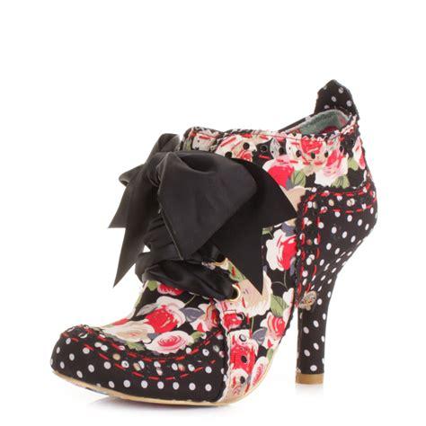 womens irregular choice abigails black floral ankle
