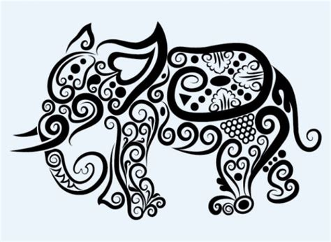 pattern animal tattoo elephant animal patterns in swirl line art download free
