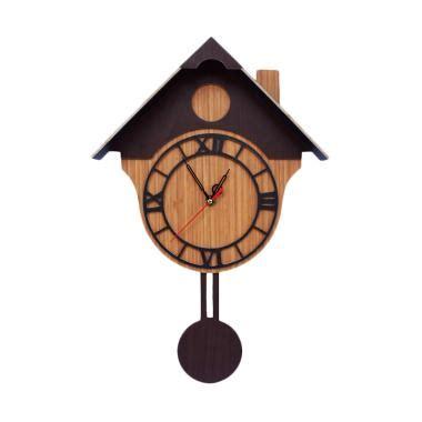 Jam Dinding Rumah Burung Swing jual cym exclusive karakter unik model rumah burung jam dinding coklat harga