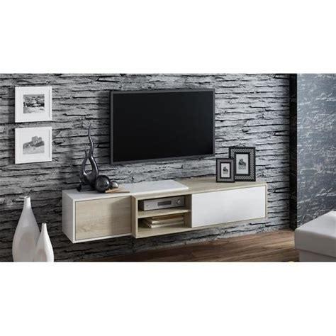 Meuble tv suspendu LIGNA bois et blanc   Achat / Vente