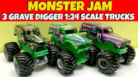 monster jam 1 24 scale 3 monster jam grave digger 1 24 scale trucks youtube