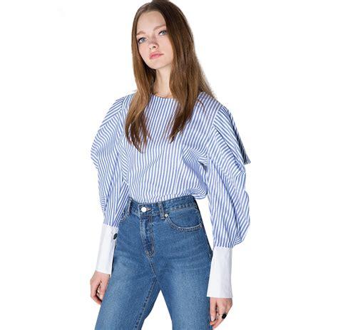 Lantern Sleeve Striped Shirt striped lantern sleeve zipper o neck shirt uniqistic