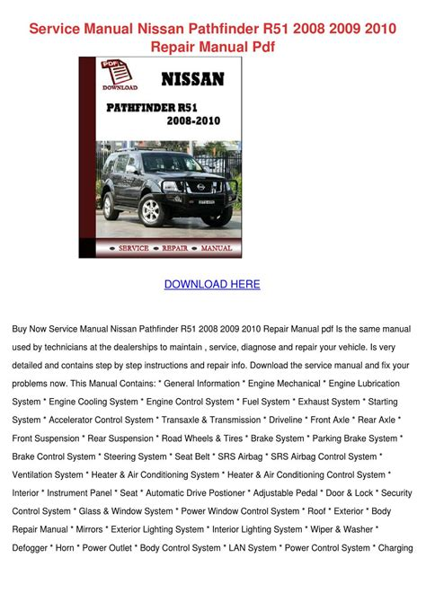 auto manual repair 2004 nissan pathfinder windshield wipe control service manual nissan pathfinder r51 2008 200 by jessgriffis issuu