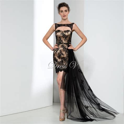 design evening dress online women black chiffon patchwork hi lo high low loose short