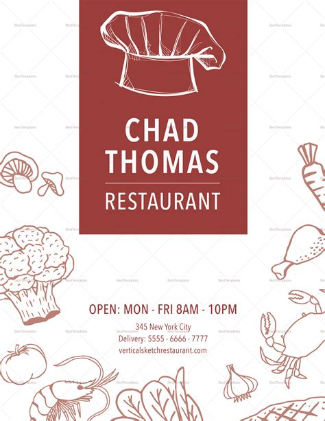 vertical sketch restaurant menu design template in psd