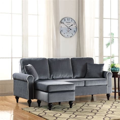 Velvet Sectional Sofa With Chaise Traditional Small Space Grey Velvet Sectional Sofa With Reversible Chaise Ebay