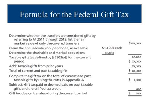 Credit Equivalent Amount Formula Estate And Gift Tax