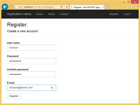 email register using ado net implementation of asp net identity 1 for db2