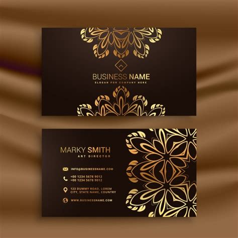 premium luxury business card design with golden floral