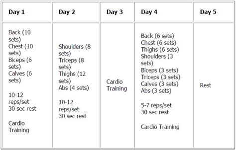 loss 5 day workout program loss
