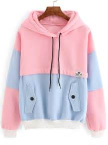 color block hoodie colour block drawstring hooded pockets sweatshirt shein