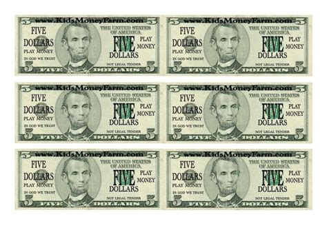 custom dollar bill template and play money template free