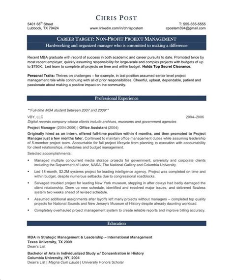 Summary Statement For Non Profit Resume 18 Best Images About Non Profit Resume Sles On Executive Assistant Blue Skies