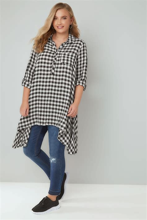 Fn Sweater Nots black white asymmetric checked shirt plus size 16 to 36