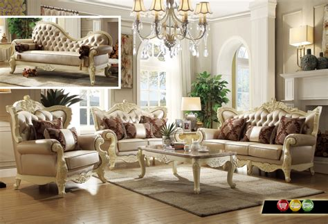Antique White Living Room Furniture Traditional Formal Livingroom Set Pearl Bonded Leather Antique White Carved Wood Ebay
