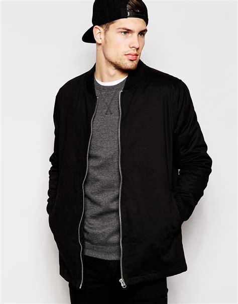 Asos Longline Bomber lyst asos longline bomber jacket in black in black for