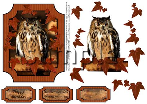 Owl Decoupage - painted owl topper and decoupage digital