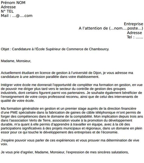 Ecole Hoteliere Lettre De Motivation exemple cv ecole de commerce cv anonyme