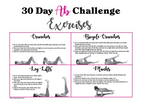 printable exercise instructions southern mom loves 30 day ab challenge with calendar and